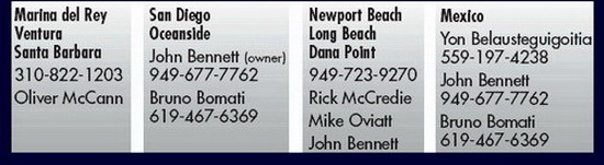 "UK HALSEY SAILMAKERS - Please Call: Marina del Rey - Ventura - Santa Barbra: Oliver McCann (310) 822-1203 - San Diego - Oceanside - Mexico: John Bennett ""owner"" (949) 677-7762 Bruno Bomati (619) 467-6369 - Newport Beach - Long Beach: Rick McCredie, Mike Oviatt, John Bennett (949) 723-9270 - Mexico: Yon Belausteguigoitia (559) 197-4238"